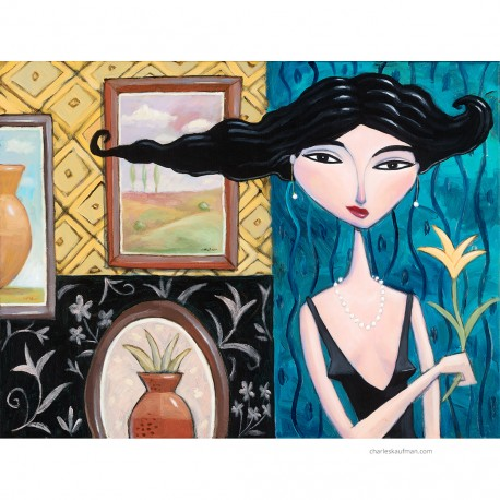 """Giclée Print on Canvas: """"Woman Holding a Yellow Flower""""."""