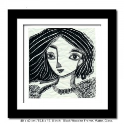 "Linoprint: ""Woman with Black Hair"""