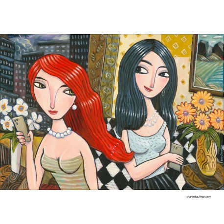 """Giclée Print on Canvas: """"Two Women in a Hotel"""""""