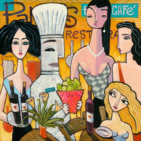 """Giclée Print on Canvas: """"In the Restaurant"""""""