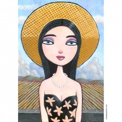 "Giclée Print on Canvas: ""Woman Wearing a Straw Hat"""