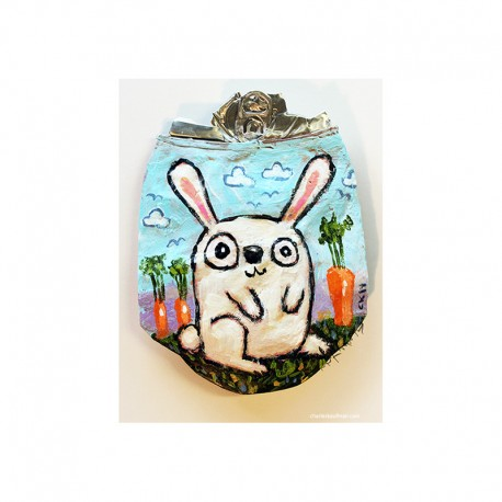 """Crushed Can Art: """"Bunny in the Garden"""""""
