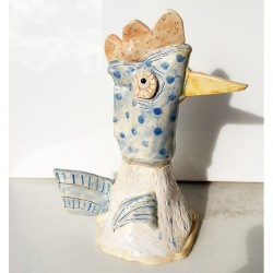 "Sculpture: ""Chicken with Blue Polka Dots"""