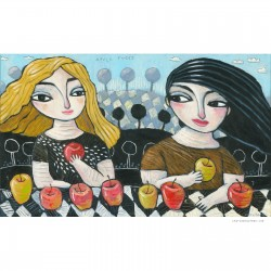 """Giclée Print on Canvas: """"Counting the Apples"""""""