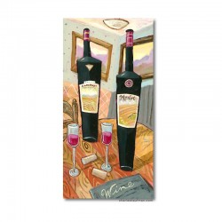 "Giclée-Druck auf Leinwand: ""Wine and Glasses on a Table"""