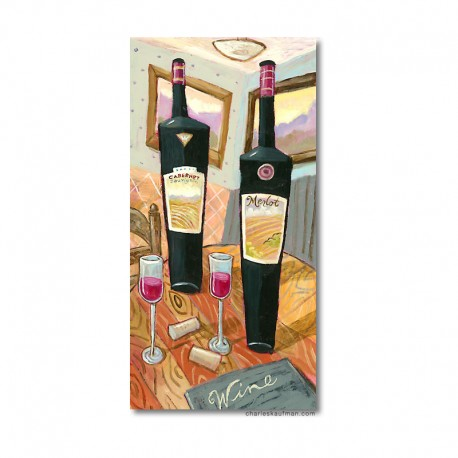 "Giclée Print on Canvas: ""Wine and Glasses on a Table"""