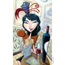 """Giclée Print on Canvas: """"Woman Sitting at a Table Reading a Wine Book"""""""