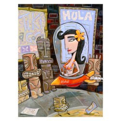 """Giclée Print on Fine Art Paper: """"Every Saturday Night Hula Girl would Fly into Tiki Town"""""""
