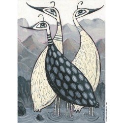 """Giclée Print on Canvas: """"Birds in the Mountains"""""""