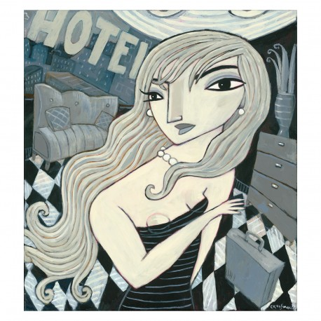 """Giclée Print on Canvas: """"Checking into a Hotel"""""""