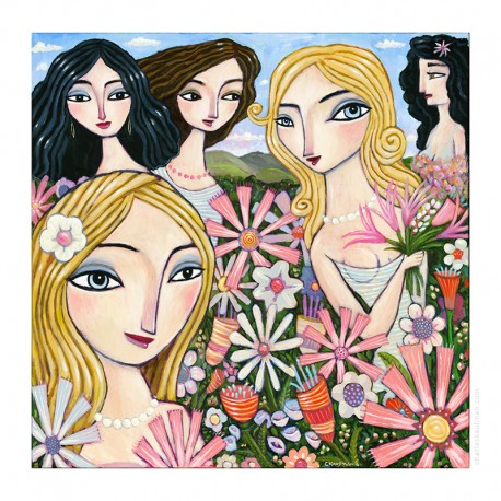 "Giclée-Druck auf Leinwand: ""In a Field of Flowers."""