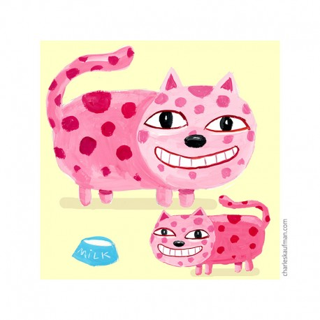 "Giclée Print on Fine Art Paper: ""Happy Pink Cats""."