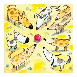 "3D Grafik: ""Eight Dogs, One Ball"""