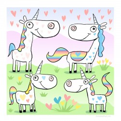 "3D Graphic: ""Four Happy Unicorns"""