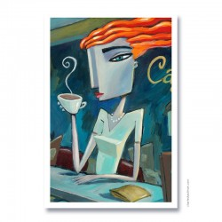 "Giclée Print on Fine Art Paper: ""Enjoying Coffee""."