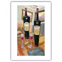 "Giclée Print on Fine Art Paper: ""Wine and Glasses on a Table""."