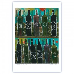 "Giclée Print on Fine Art Paper: ""Bottles of Wine""."