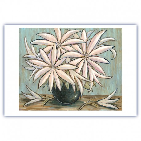 "Giclée Print on Fine Art Paper: ""White Flowers on a Table""."