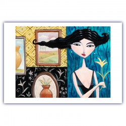 "Giclée Print on Fine Art Paper: ""Woman Holding a Yellow Flower""."