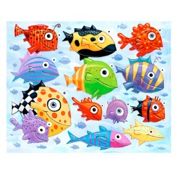 "Giclée Print on Fine Art Paper: ""Colorful Fish in the Sea""."