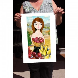"""Giclée Print on Fine Art Paper: """"Harvesting Pears and Apples"""""""