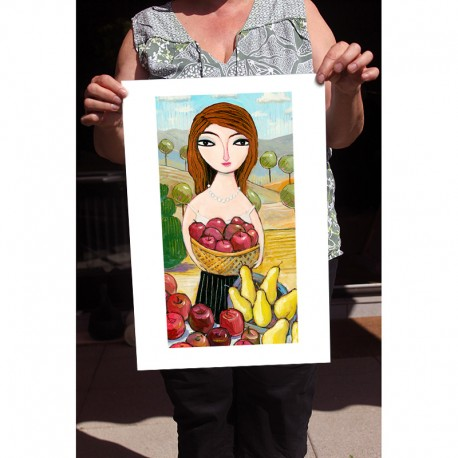 "Giclée Print on Fine Art Paper: ""Harvesting Pears and Apples"""