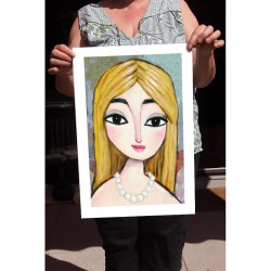 "Giclée Print on Fine Art Paper: ""Blonde and Pearls"""
