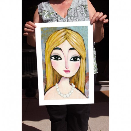 "Giclée-Druck auf FineArt Papier: ""Blonde and Pearls"""