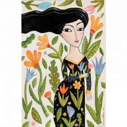 "Giclée Print on Canvas: ""Woman with Flowers"""