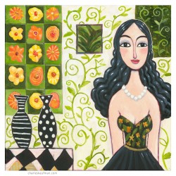 "Giclée-Druck auf Leinwand: ""Woman with Long Black Hair"""