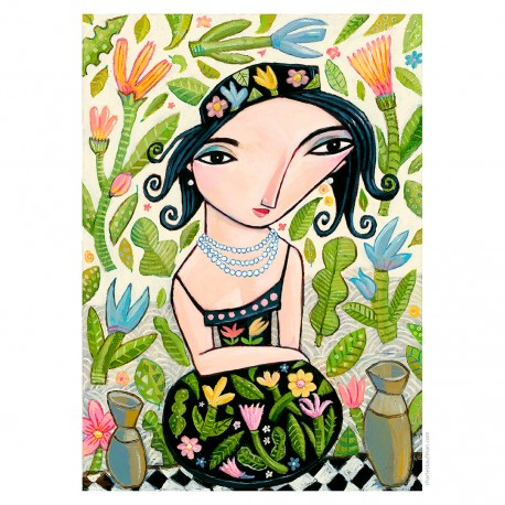 "Giclée Print on Fine Art Paper: ""Flowers on her Hat""."